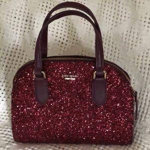 NWOT Kate Spade Mini Reiley glitter deep plum bag